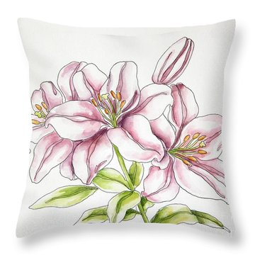 Delicate Lilies Throw Pillow