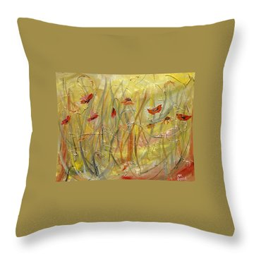 Throw Pillow featuring the painting Delicate Poppies by Dorothy Maier
