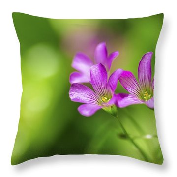 Delicate Purple Wildflowers Throw Pillow