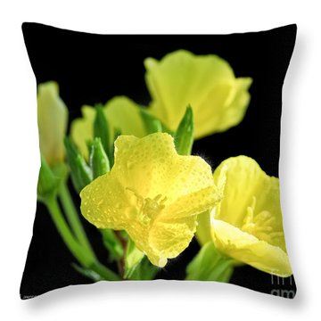 Delicate Yellow Wildflowers In The Sun Throw Pillow