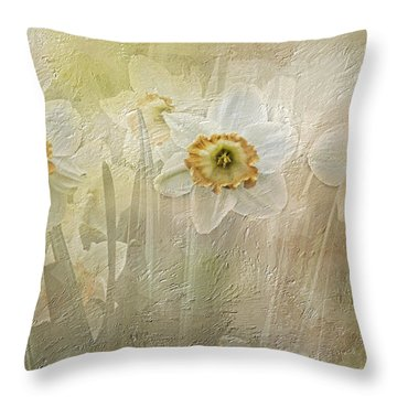 Delightful Daffodils Throw Pillow by Diane Schuster