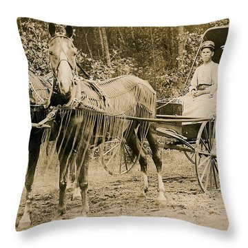 Delivering The Mail 1907 Throw Pillow by Floyd Russell