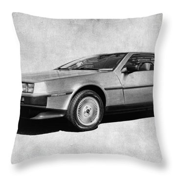 Delorean In Black And White Throw Pillow