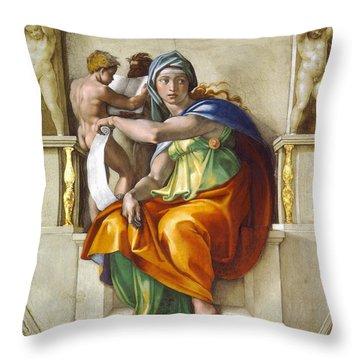 Throw Pillow featuring the painting Delphic Sybil by Michelangelo di Lodovico Buonarroti Simoni