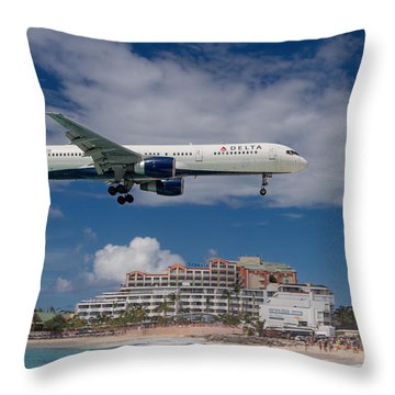 Delta Air Lines Landing At St. Maarten Throw Pillow by David Gleeson
