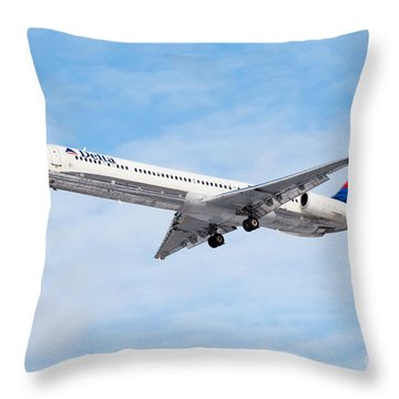 Delta Air Lines Mcdonnell Douglas Md-88 Airplane Landing Throw Pillow by Paul Velgos