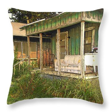Delta Sharecropper Cabin - All The Conveniences Throw Pillow by Rebecca Korpita