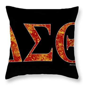 Throw Pillow featuring the digital art Delta Sigma Theta - Black by Stephen Younts