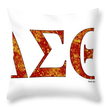 Throw Pillow featuring the digital art Delta Sigma Theta - White by Stephen Younts