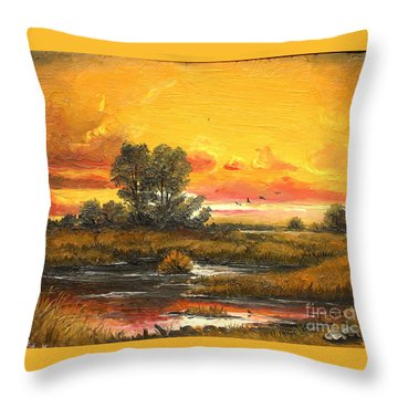 Throw Pillow featuring the painting Delta Sunset by Sorin Apostolescu