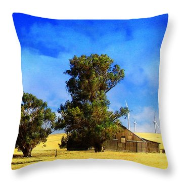 Delta Wind Farm Throw Pillow by Timothy Bulone