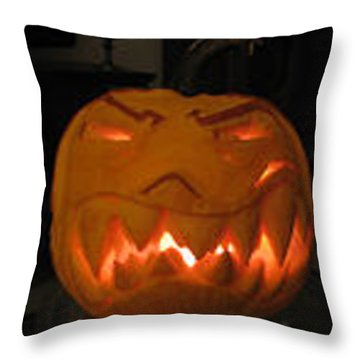 Throw Pillow featuring the sculpture Demented Mister Ullman Pumpkin 2 by Shawn Dall