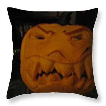 Throw Pillow featuring the sculpture Demented Mister Ullman Pumpkin 3 by Shawn Dall