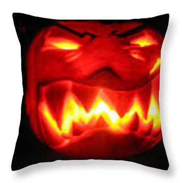 Demented Mister Ullman Pumpkin Throw Pillow