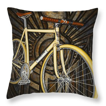 Throw Pillow featuring the painting Demon Path Racer Bicycle by Mark Howard Jones