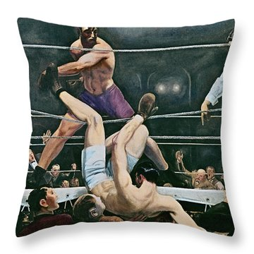 Dempsey V Firpo In New York City Throw Pillow by George Wesley Bellows