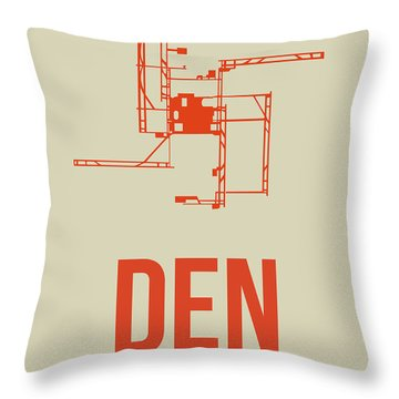 Den Denver Airport Poster 2 Throw Pillow by Naxart Studio