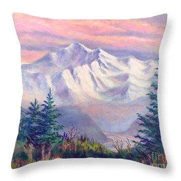 Denali Alpenglow Throw Pillow by Teresa Ascone