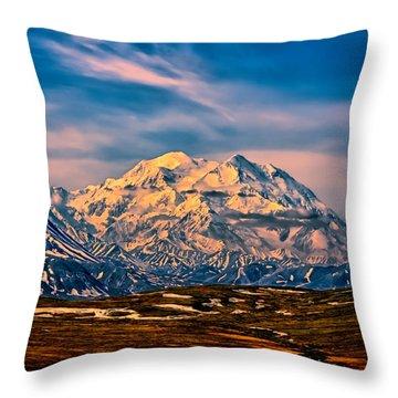 Denali At Sunset Throw Pillow