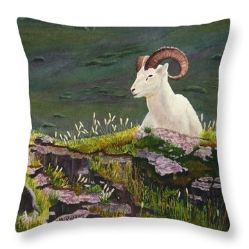 Denali Dall Sheep Throw Pillow