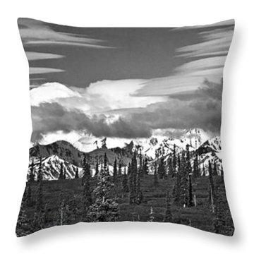 Denali In Clouds Throw Pillow