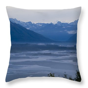 Denali Side Mountain Ranges Throw Pillow by Tara Lynn