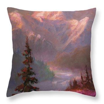 Denali Summer - Alaskan Mountains In Summer Throw Pillow