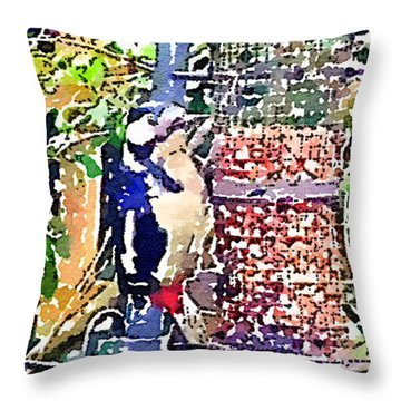 Dendrocopos Major 'great Spotted Woodpecker' Throw Pillow