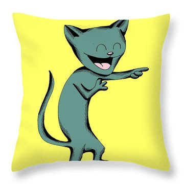 Denim Cat Laughing Throw Pillow
