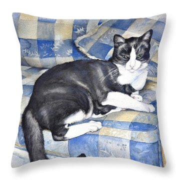 Throw Pillow featuring the painting Denise's Cat by Sandra Phryce-Jones