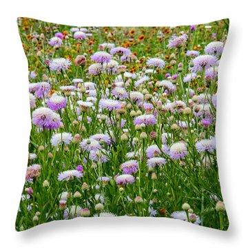 Dense Basket-flowers And Firewheels Throw Pillow