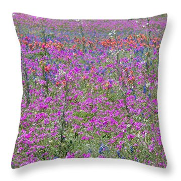 Dense Phlox And Other Wildflowers Throw Pillow