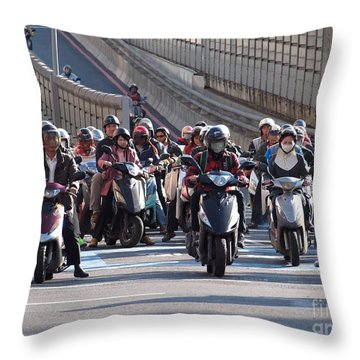 Dense Scooter Traffic In Taiwan Throw Pillow