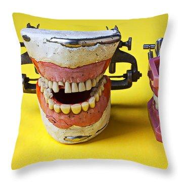Dental Models Throw Pillow by Garry Gay