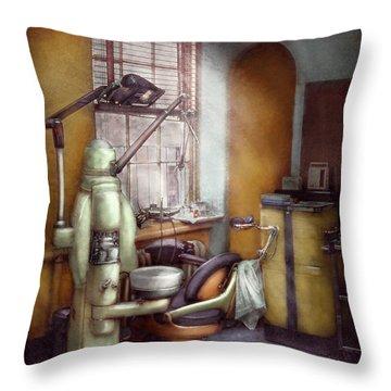 Dentist - Dental Office Circa 1940's Throw Pillow by Mike Savad