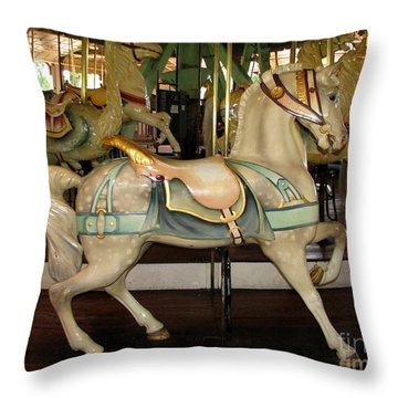 Throw Pillow featuring the photograph Dentzel Menagerie Carousel Horse by Rose Santuci-Sofranko