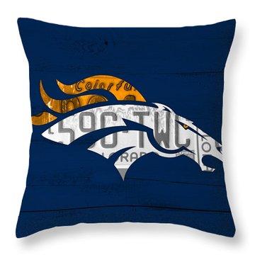Denver Broncos Football Team Retro Logo Colorado License Plate Art Throw Pillow