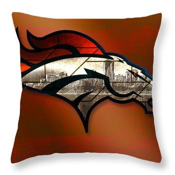Denver Broncos With Skyline 2 Throw Pillow