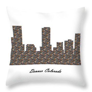 Denver Colorado 3d Stone Wall Skyline Throw Pillow