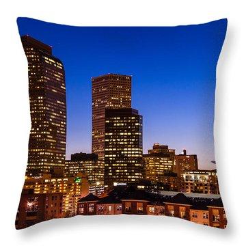 Denver Colorado Skyline At Blue Hour Mar 2013 Throw Pillow