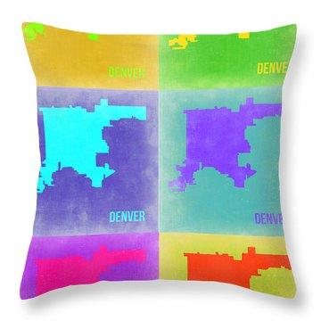 Denver Pop Art Map 3 Throw Pillow by Naxart Studio