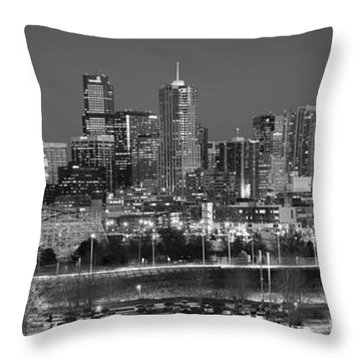 Throw Pillow featuring the photograph Denver Skyline At Dusk Black And White Bw Evening Panorama Broncos Colorado  by Jon Holiday