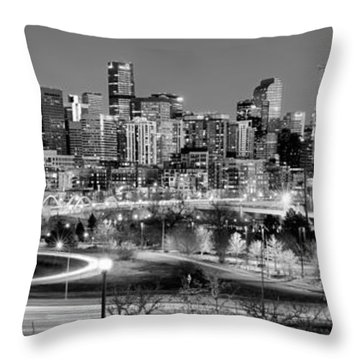 Throw Pillow featuring the photograph Denver Skyline At Dusk Evening Bw Black And White Evening Panorama Broncos Colorado  by Jon Holiday