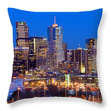 Throw Pillow featuring the photograph Denver Skyline At Dusk Evening Color Evening Extra Wide Panorama Broncos by Jon Holiday
