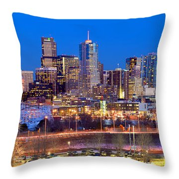 Throw Pillow featuring the photograph Denver Skyline At Dusk Evening Color Evening Panorama Broncos Colorado  by Jon Holiday