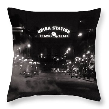 Denver Union Station Square Image Throw Pillow by Ken Smith