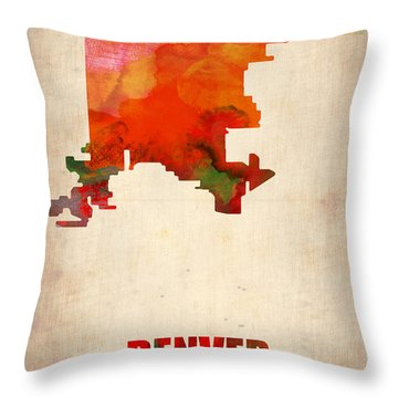 Denver Watercolor Map Throw Pillow by Naxart Studio