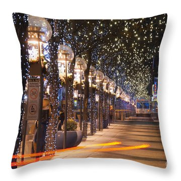 Denver's 16th Street Mall At Christmas Throw Pillow