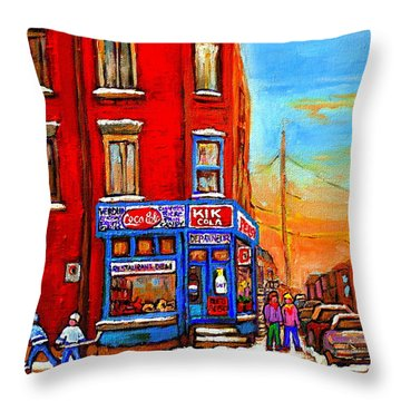 Depanneur Marche Fruits Verdun Restaurant Smoked Meat Deli  Montreal Winter Scene Paintings  Hockey  Throw Pillow by Carole Spandau