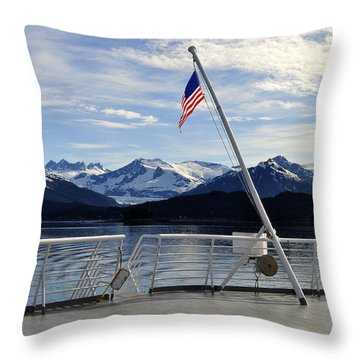 Throw Pillow featuring the photograph Departing Auke Bay by Cathy Mahnke